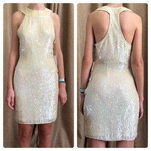 Philippe Albert ivory silk sequin dress/ 6